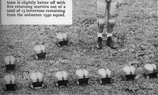 The 1951 Princeton Alumni Weekly football outlook showed Dick Kazmaier '52, the lone returning starter on offense, with a host of empty helmets.