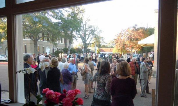 Visitors gathered for the Oct. 1 opening of the Cassidy Bayou Art and Culture Center in Sumner, Miss.