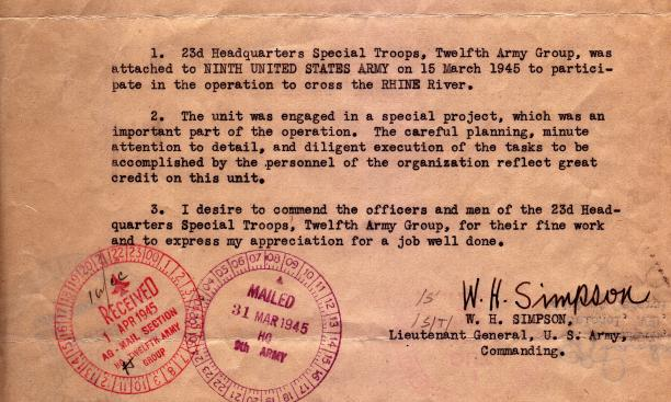 """Lt. Gen. W.H. Simpson commended the special troops for """"careful planning, minute attention to detail, and diligent execution"""" in the Rhine operation."""