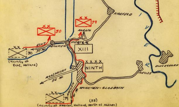 This hand-drawn map, providing a basic overview of Operation Viersen near the Rhine, is part of the Official History of the 23rd Headquarters Special Troops. Fox wrote the history after the end of the war in Europe.