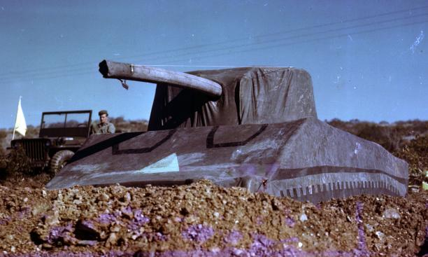 "Dummy tanks like this one were part of the ruse set by the 23rd Headquarters ""Ghost Army,"" giving the appearance of Allied installations."