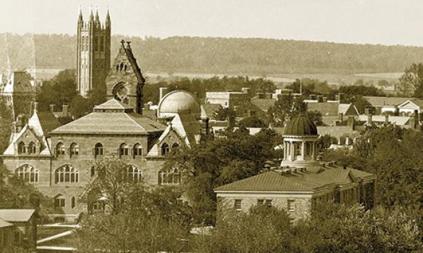 Four local landmarks, from left: 2-year-old Holder Tower, the triangular Stuart Hall tower at the Princeton Theological Seminary (since removed), the round dome of Halsted Observatory, and the seminary's Brown Hall cupola — the last two dating from th