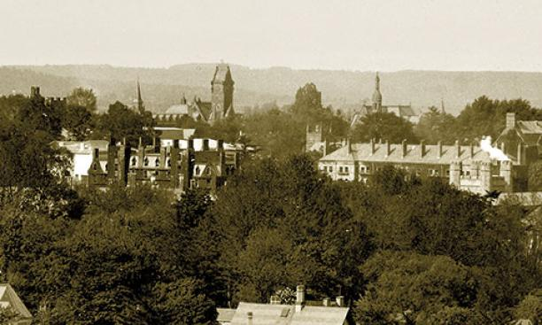 Three towers from the Victorian era — the Dickinson classroom building, the School of Science, and Marquand Chapel — all would burn within 15 years. The bristling chimneys belong to Edwards and Dod dormitories, Victorian stalwarts still occupied today
