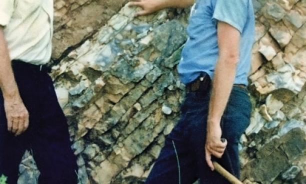 Scientists Luis, left, and Walter Alvarez *67, father and son, at the K/T boundary in Gubbio, Italy, in 1981.