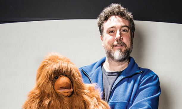 Professor Michael Graziano '89 *96 sometimes begins lectures by doing ventriloquism with his puppet, Kevin, which can lead listeners to think that Kevin has awareness.
