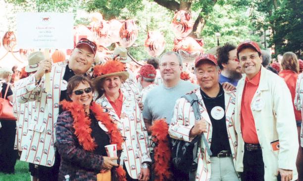 From left: Wayne Lau '79 (with sign), Leslie Bennett '80, Amy Grimm '79, Mark Frawley '79, Larry Tsai '79, and Andy Fies '79.