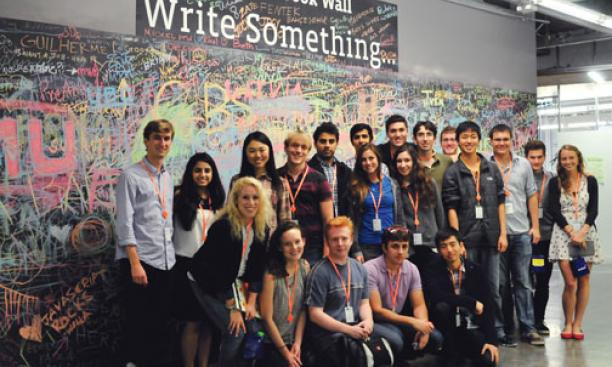 Princeton students visit Facebook on their Tiger Trek trip to California.