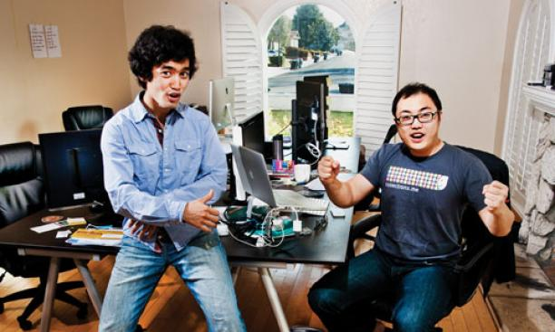 Enthusiasm abounds in Mountain View, Calif., where Arman Suleimenov *12, left; Tony Xiao '12; and Jordan Lee GS (not pictured) develop their computer application, Collections.