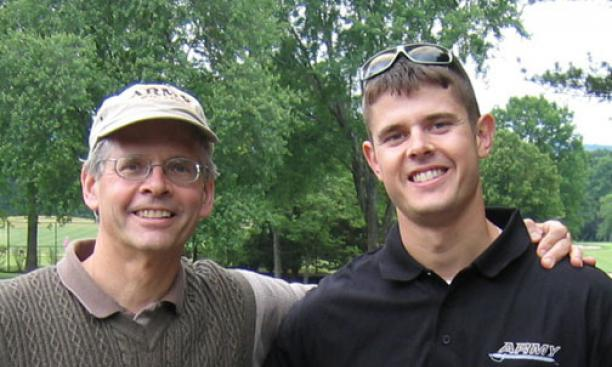 Mark Larsen '76, left, with his son, Christopher.