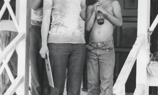 Katherine King *78 with sons Eric, left, and Ethan on the porch of 221C Halsey in 1976.