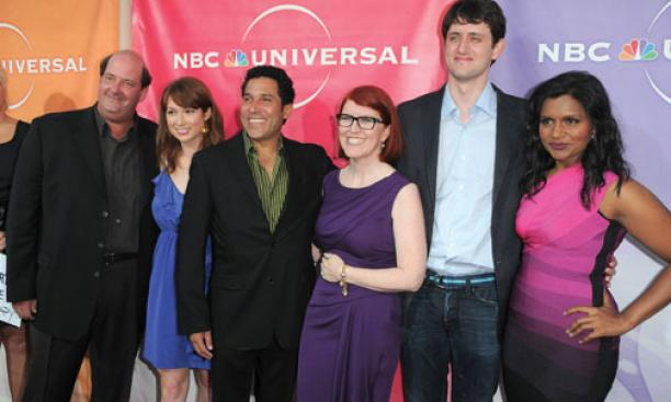 "Kemper, second from left, with ""Office"" co-stars, from left: Brian Baumgartner, Oscar Nuñez, Kate Flannery, Zach Woods, and Mindy Kaling, photographed at an NBC Universal party in Beverly Hills in 2010."