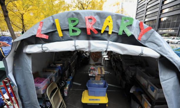 The People's Library on Nov. 14, 2011, one day before police evicted Occupy Wall Street protesters — and the library — from Zuccotti Park.