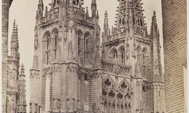 Charles Clifford, British, ca. 1819–1863: Burgos Cathedral, Façade, 1853. Albumen print from waxed paper negative, 41.9 x 30.5 cm. Princeton University Art Museum Museum purchase, Fowler McCormick, Class of 1921, Fund (2010 125). Photo: Bruce M. White.