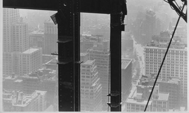 Lewis W. Hine, American, 1874–1940: Laying a Great Beam on the Empire State Building, 1930. Gelatin silver print, 34.3 x 24.6 cm. Princeton University Art Museum, anonymous gift (x1973 41).  Photo: Bruce M. White.