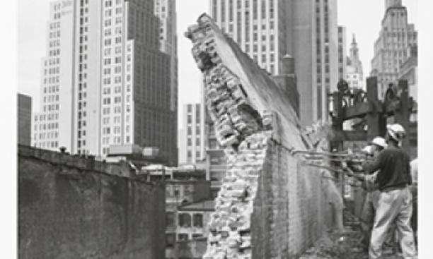 Danny Lyon, American, born 1942; printed by Chuck Kelton: Dropping a wall, from the series The Destruction of Lower Manhattan, 1967, printed 2007. Gelatin silver print, 31 x 20.8 cm. Princeton University Art Museum, gift of M. Robin Krasny, Class of 1973