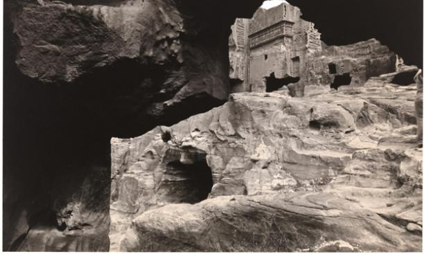 Emmet Gowin, American, born 1941: Tomb Fragments, the Outer Siq, Petra, Jordan, 1983, printed 1985. Toned gelatin silver print, 19 x 24.1 cm. Collection of Richard and Ronay Menschel. © 1983, Emmet Gowin / photo: Bruce M. White.