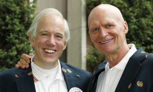 Raymond Gibbons '70, left; and Stewart McBride '70, who was Stewart Dill at Princeton, at their 40th reunion.
