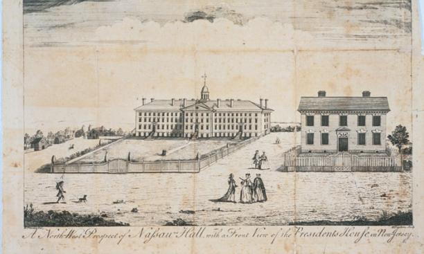 The original Nassau Hall, depicted in a 1764 print.