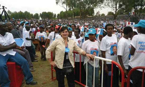 Kira Kay *03 on the ­campaign trail in Rwanda, where she was following President Paul Kagame, in August.