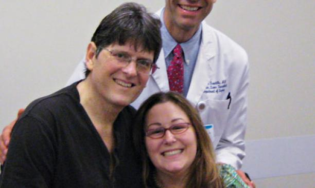 Bob Massie '78, left, Dr. Stuart Knechtle '78, and Jean Handler after the ­successful liver transplants.