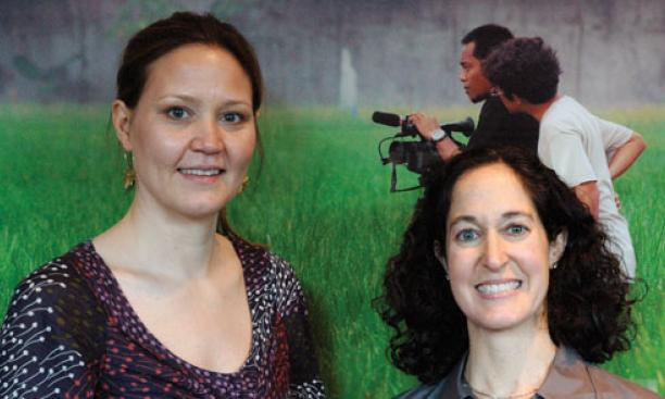 Mikaela Beardsley '92, left, and Jamie Gordon '92 are producing a television program based on WuDunn's book.