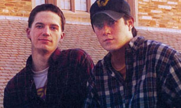Nee, right, with classmate Jonathan Howe in 1998.