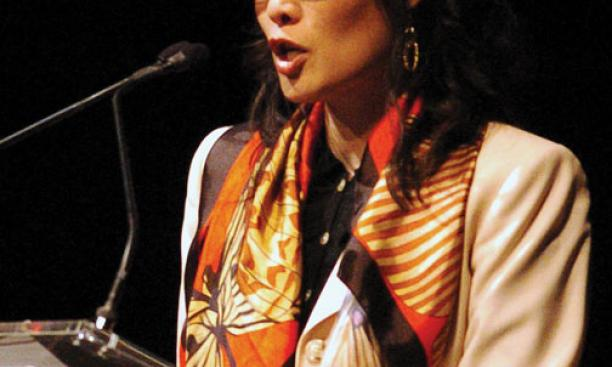 Sheryl WuDunn *88 speaks at a ceremony in October 2009, when she and her husband, Nicholas Kristof, were honored for their work on behalf of women and girls.