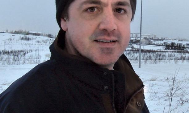 "Bruce Kennedy '92, who helped write and direct the series ""NextWorld,"" on location in Iceland."