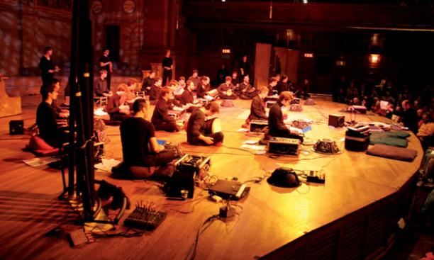 The Princeton Laptop Orchestra, shown performing  last winter in Alexander Hall's Richardson Auditorium, made its Carnegie Hall debut April 25.