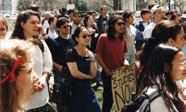 In April 1995, students demonstrated inside and outside Nassau Hall in support of ethnic-studies courses, including courses in Asian-American studies.