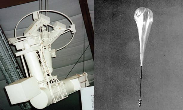 Model of Stratoscope II, left; Stratoscope I and NASA balloon