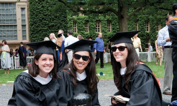 From left, Anastasia Oldham '10, Elizabeth Kohansedgh '10, and Chanel Carmona '10