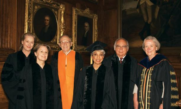 Honorary degrees: Princeton awarded honorary degrees to, from left, Academy Award-winning actress Meryl Streep, sustainable-food advocate Alice Waters, Princeton emeritus professor Irvin Glassman, actress and activist Ruby Dee Davis, and community organiz