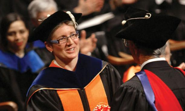 Professor Claire Gmachl was honored for her teaching and mentoring at the Graduate School's hooding ceremony June 1.