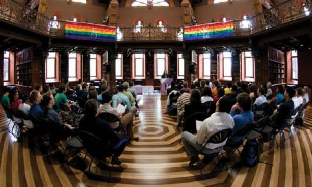 "Rainbow banners enliven Chancellor Green at the May 9 ""lavender graduation"" for lesbian, gay, bisexual, and transgender students."