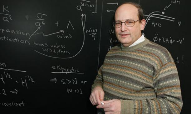"Physics professor Paul Steinhardt with equations describing what happened just before the Big Bang if his theory of a ""cyclic"" universe is correct."