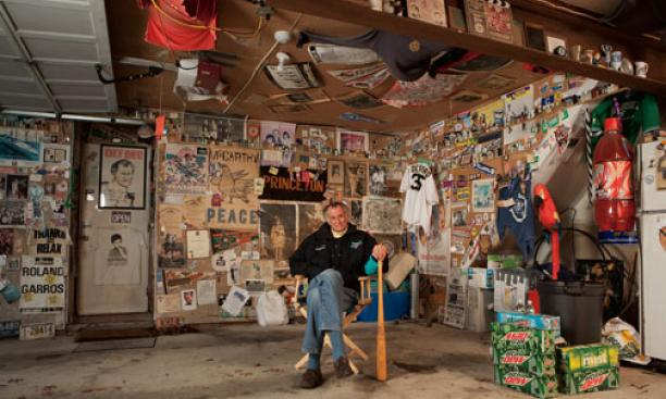 Frank Deford in his garage, which documents stories he has covered over almost 50 years.