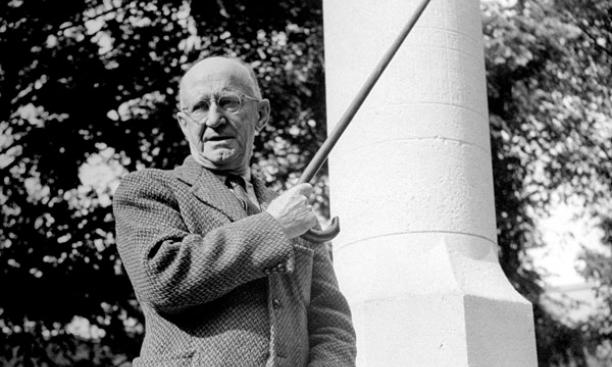 Christian Gauss in front of Princeton's Mather Sundial in 1946, the year he retired as dean of the college.