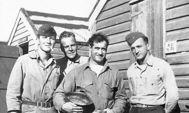Before the invasion of Tarawa in 1943, 1st Lt. Alexander Bonnyman '32, second from left, posed with fellow officers in New Zealand.