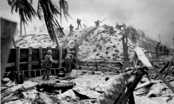 Alexander Bonnyman atop the bunker on Nov. 22, 1943 (arrow points to him).