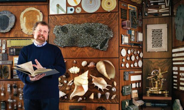 Myhrvold at home, where his many collections illustrate his wide range of interests.