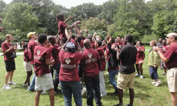 A team-building exercise for African Leadership Academy graduates at the Princeton-Blairstown Center.