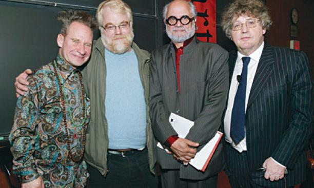 "From left, opera and theater director Peter Sellars; actor Philip Seymour Hoffman; Homi K. Bhabha, director of the Humanities ­Center at Harvard University; and Professor Paul Muldoon took part in a Lewis Center symposium on ""The Arts and the Economic"