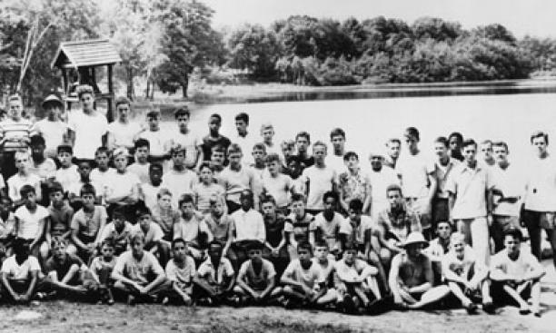 Campers from Princeton, New York, and Philadelphia gathered for this 1948 photo, which includes about a dozen University undergraduates. Standing, far right, is Everard ­Pinneo '48, former camp director and current board member.