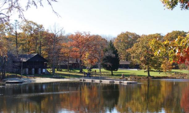 A view of Danielson Lodge from Bass Lake at the Princeton-Blairstown Center.