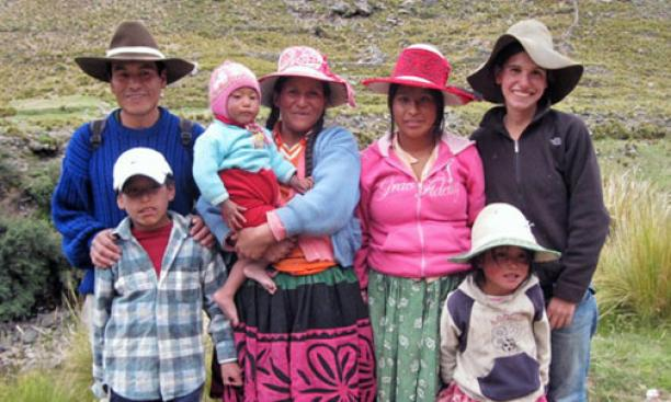 Leah Bushin '14, far right, with her host family in Collana, Peru.