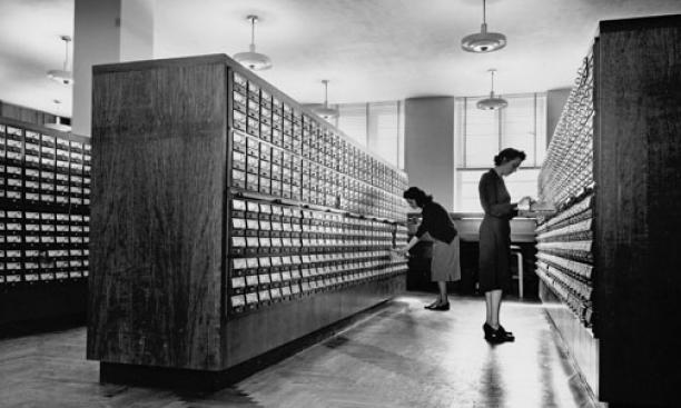 Drawer fronts from the card catalog will become part of an exhibit in the library lobby. The card will be recycled.