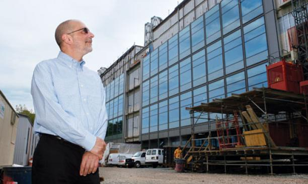 Robert Cava, chairman of the chemistry department, outside the new chemistry building. The 263,000-square-foot structure is scheduled to open in the fall of 2010.