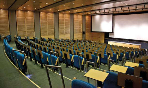 The Edward C. Taylor auditorium has seating for 260 in the basement of Frick Lab.