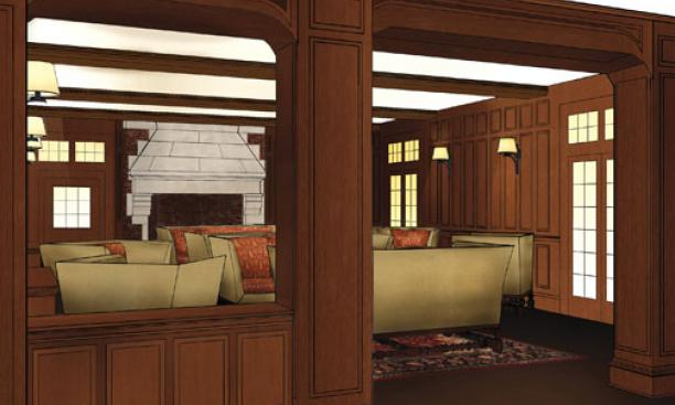 Architect's rendering of the refurbished living room of Campus Club, which is being renovated to become a community space for students. The University acquired the club in 2006.